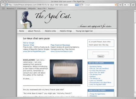 ads on Aged Cat post